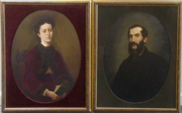4: TABAR, F.G.L. Pair 19th C. Oil Pendant Portraits