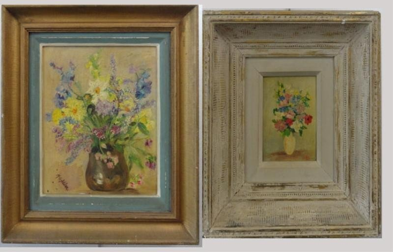 7: 2 Signed Oils of Floral Still Lifes.