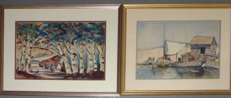 9: Unsigned. 2 Framed Watercolors.