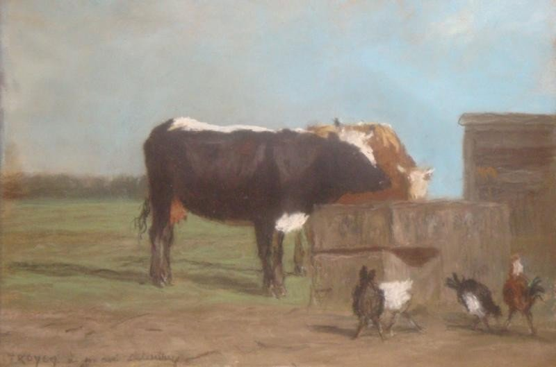 10: TROYON, Constant. Pastel on Paper. Two Cows