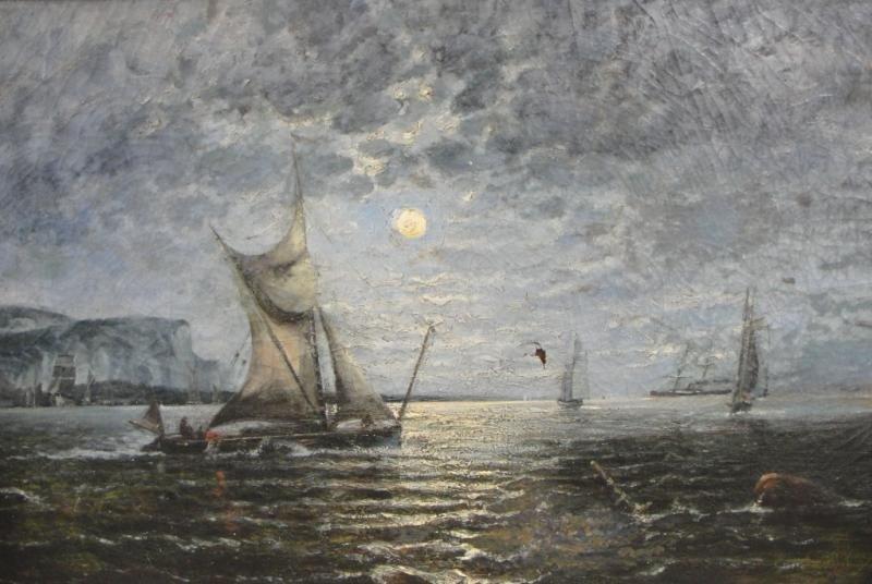 12: Signed Oil on Canvas Ship Scene at Dusk.