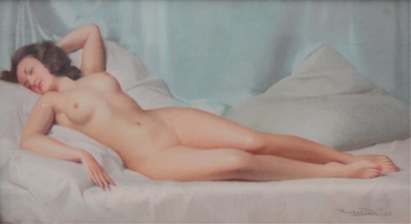 15: DUFTOS, Robert. Pastel of Art Deco Nude Behind