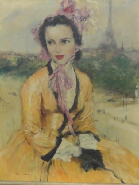 16: GERARD, Paul. Oil on Canvas of Parisian Lady.