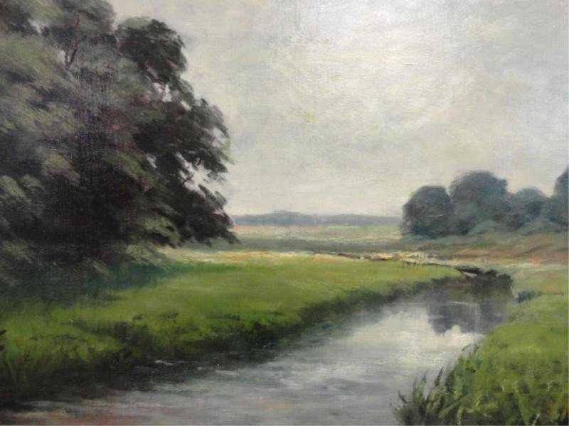19: McGary (?) Oil on Canvas River in Landscape.