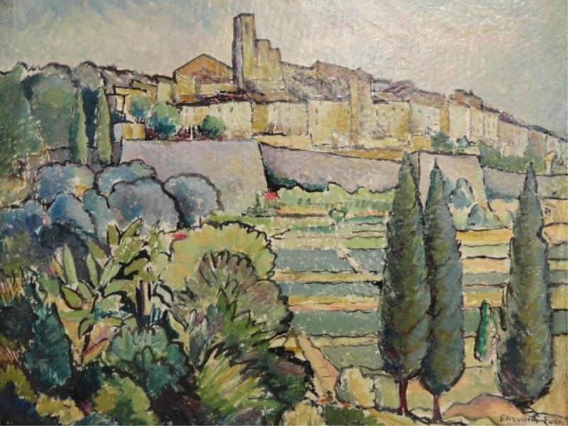 20: FORD, Ellsworth (?). Oil on Masonite Landscape.