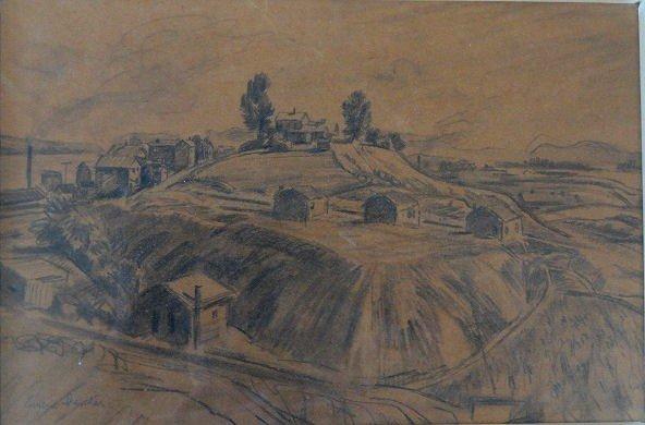 21: SPEICHER, Eugene. Pencil Drawing. Farm Landscape.