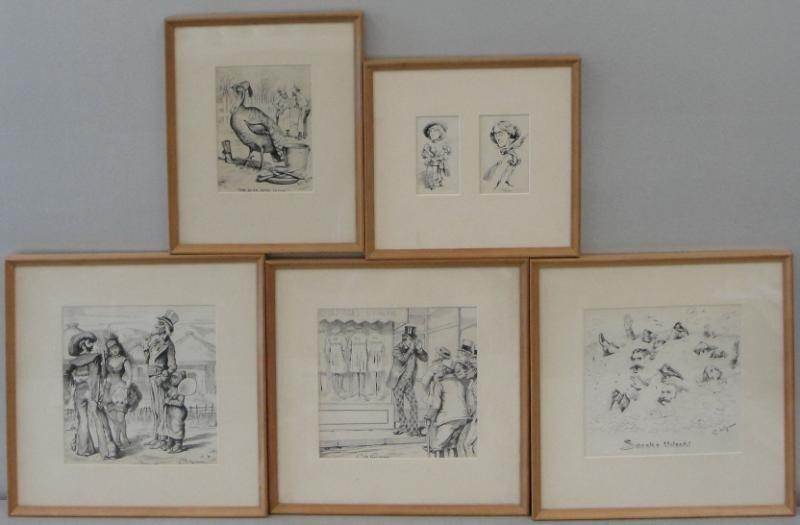 22: C. de GRIMM, Baron. 5 Political Illustrations. Ink