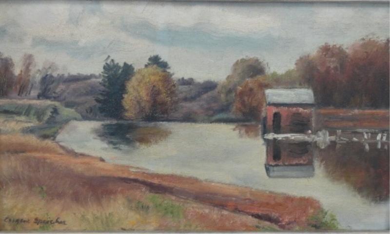 24: SPEICHER, Eugene. O/C Boat House on River.