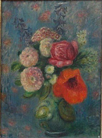 85: GLACKENS, William. O/C Bouquet with Poppies.