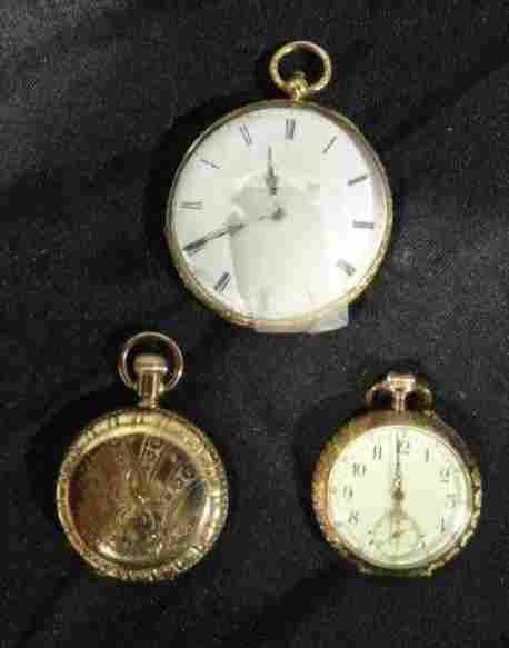 3 Pocket Watches. 1- Gold Filled, 1- 14 K, 1- 18K.