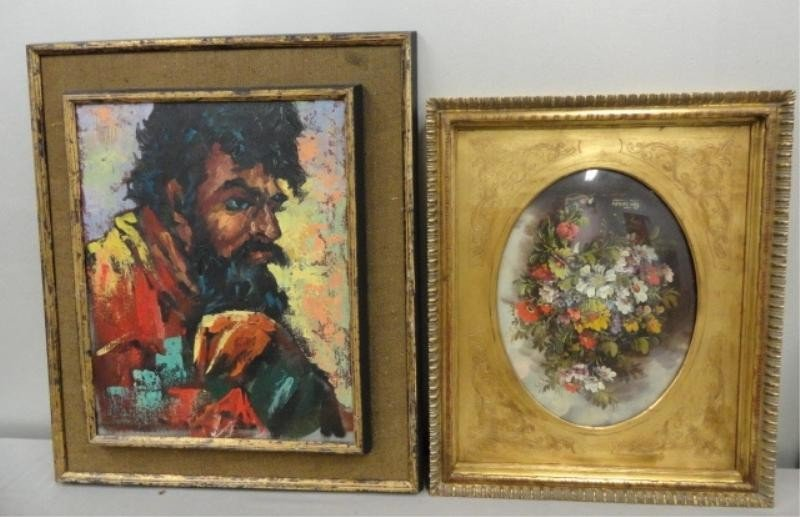 13: 2 Oil Paintings. 1 Behind Glass, Other Illegibly