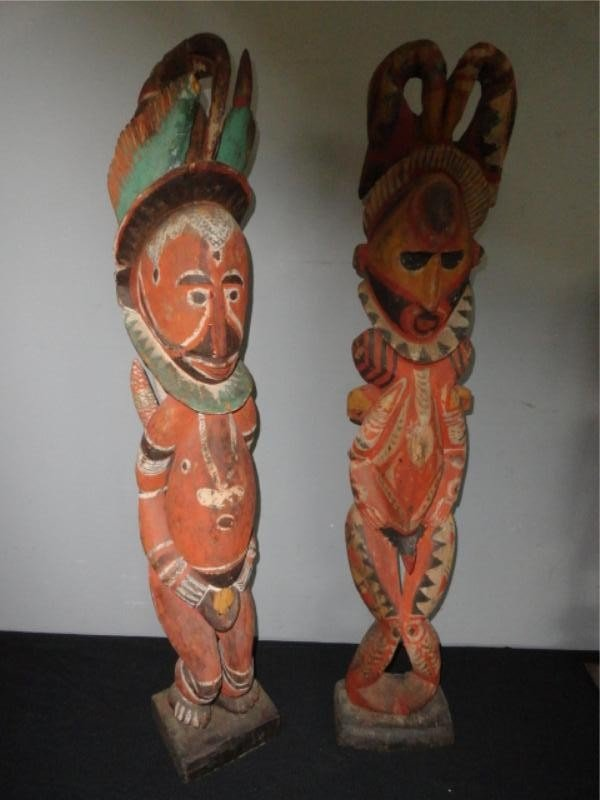 1: Two Large Polychrome New Guinea Fetish Style