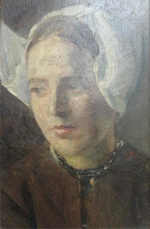 19: 19th Century Oil on Board of Dutch Girl.