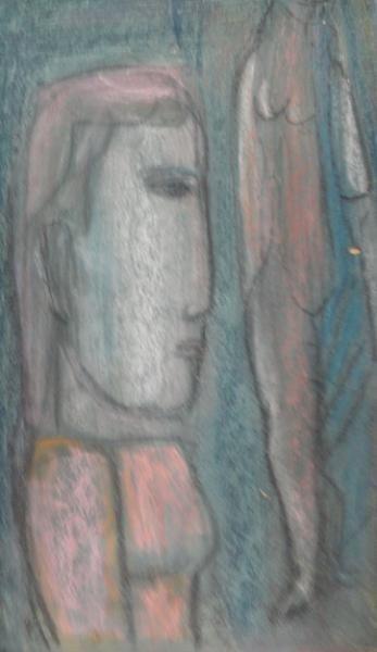 20: Unsigned. Midcentury Modern Pastel on Masonite.