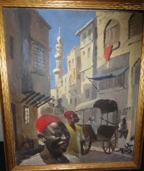 21: GRAVES, Stuart. Street Scene Oil on Artist Board.