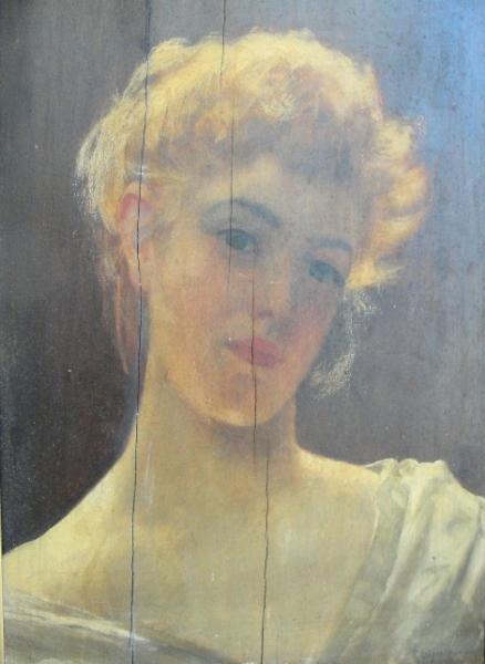 23: HOLYOAKE, Rowland. Oil on Panel of a Beauty.