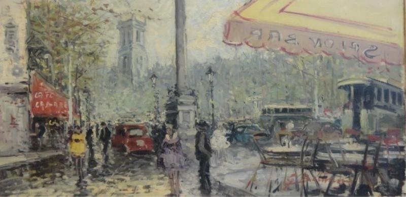 2: Illegibly Signed O/C Parisian Street Scene.