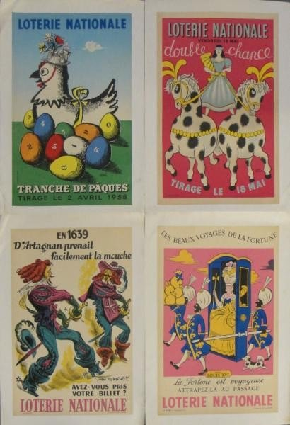 6: 4 Vintage French 1950's Lottery Posters.