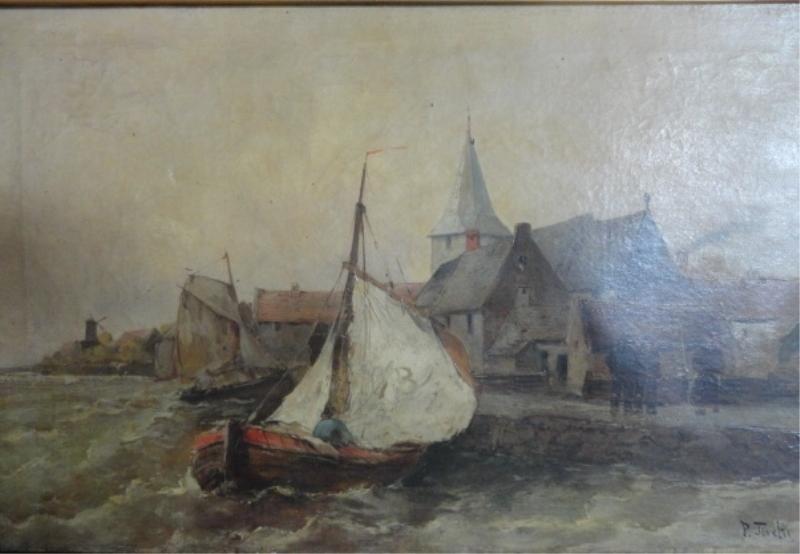 10: TORETTI, Pietro. O/C Coastal Seascape with Ship
