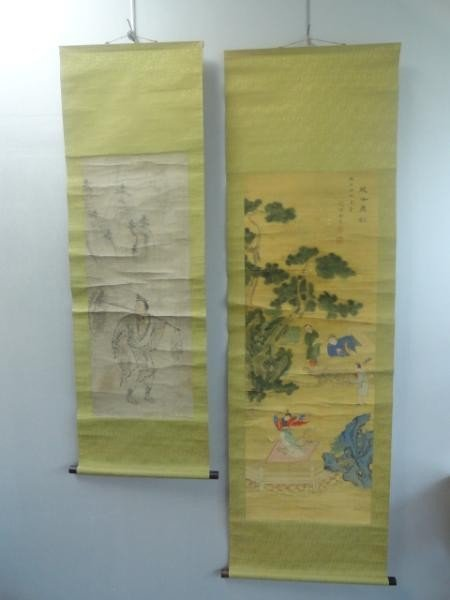 13: Two Chinese Painted Scrolls.
