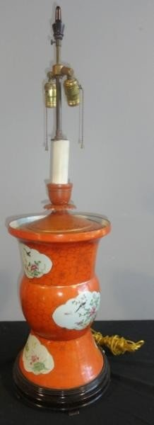 15: Chinese Orange Lamp with Gilding and Floral Design