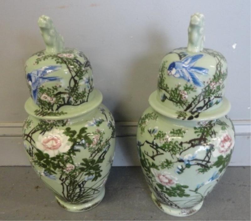 16: Pair of Celadon Vases. 1 As is.