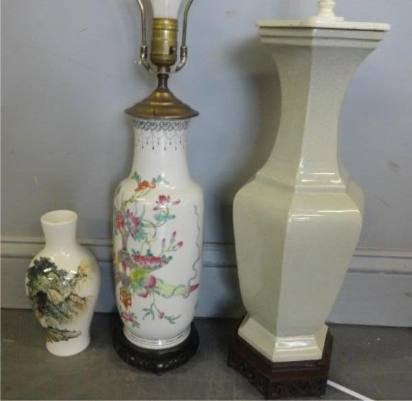 17: Lot of Two Chinese Lamps and a Chinese Vase.