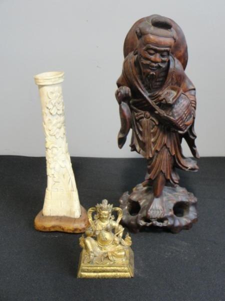 20: Lot of 3 Asian Items. Gilt Bronze Buddha, Ivory