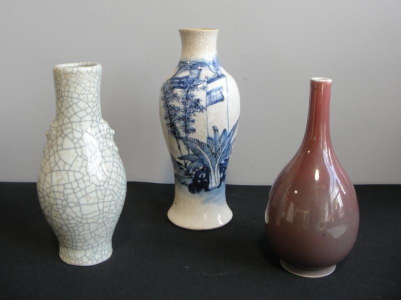 21: 3 Asian Vases. Chinese Blue & White Vase, Celedon