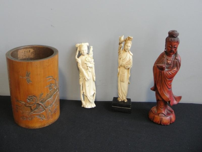 24: 4 Asian Items. 2 Ivory Figures, a Wood Figure, and