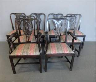 123: 8 Chippendale Style Mahogany Chairs.