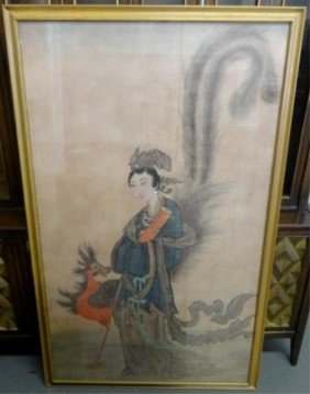 4: Large Chinese Painting/Print on Silk of a Woman