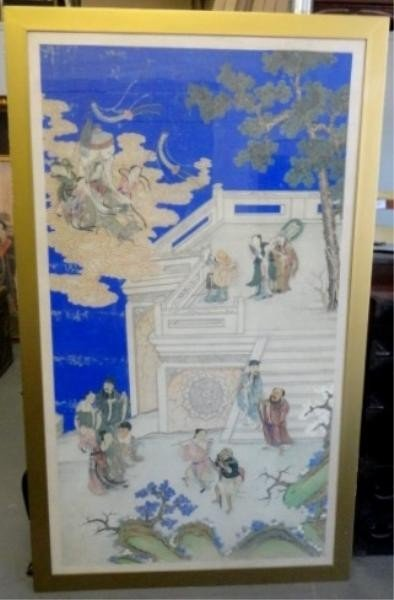5: Large Chinese Painting/Print on Silk with Figures