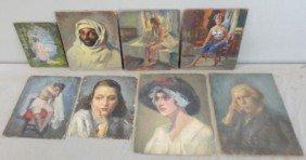 7: NEWMAN, Joseph. 8 Oil Portraits & Figure Studies.