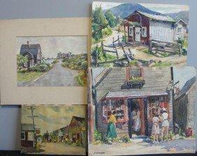 NEWMAN, Joseph. 4 Rockport (?) Village Scenes.