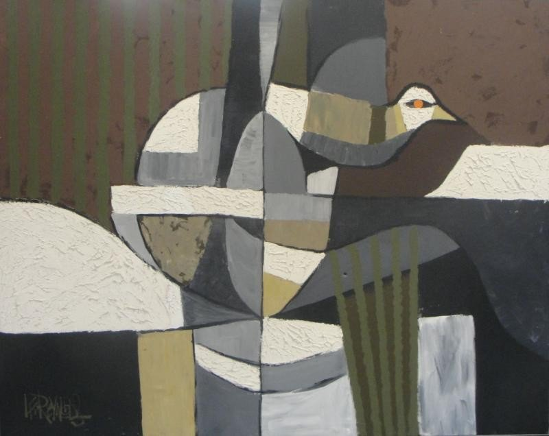 10: REYNOLDS, Lee. O/C Cubist Abstract with Bird.