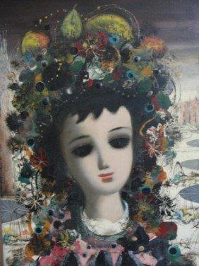 CALOGERO, Jean. O/C Surrealist Girl With Headdress