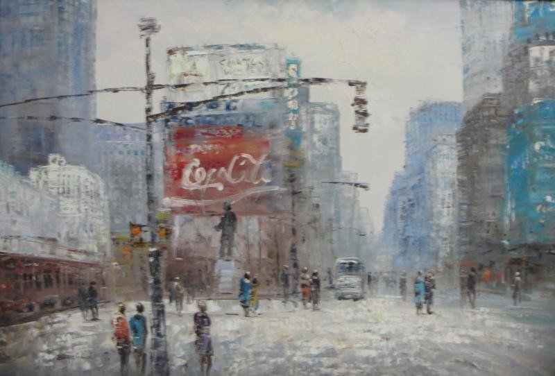 13: BOUCHARD. O/C Duffy Square NYC Street Scene.