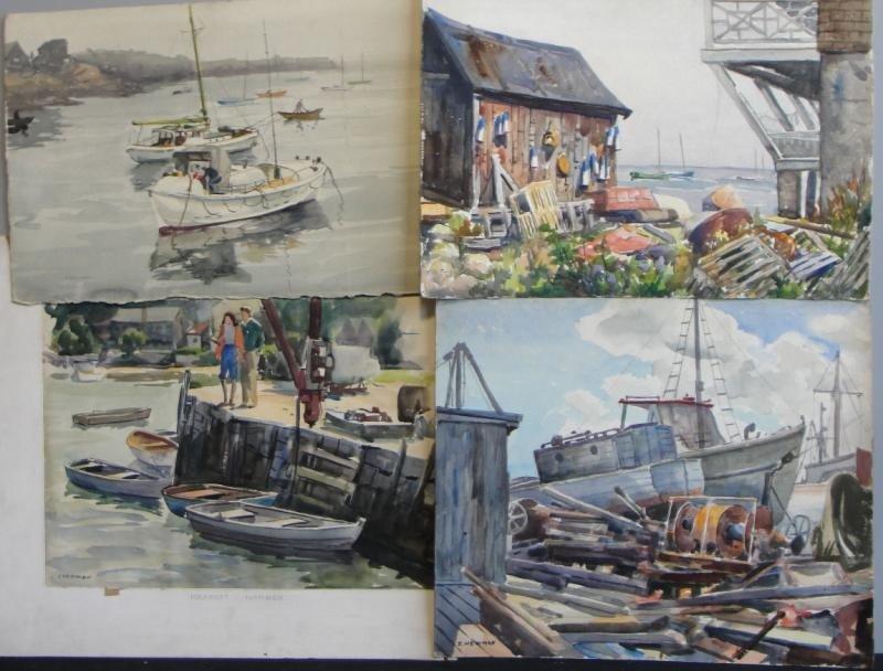 16: NEWMAN, Joseph. 4 Watercolors of Rockport Harbor.