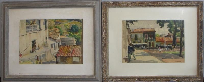 17: NEWMAN, Joseph. 2 Framed W/C's of Mexican Village