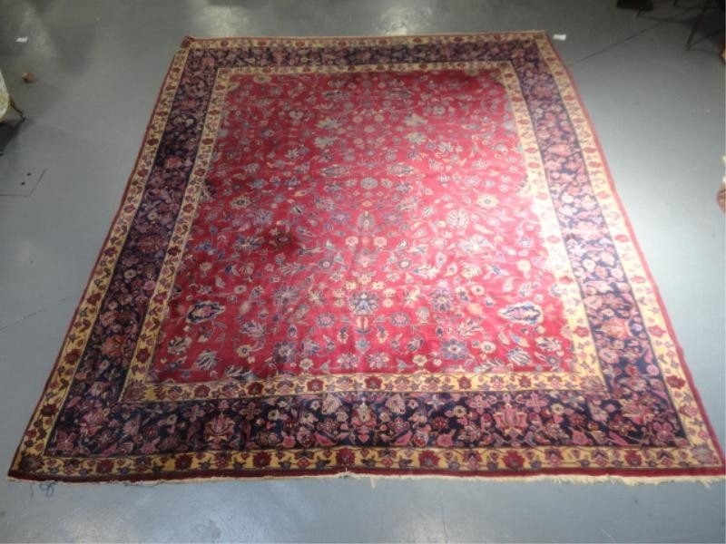 21: Antique Handmade Roomsize Sarouk (?) Carpet.