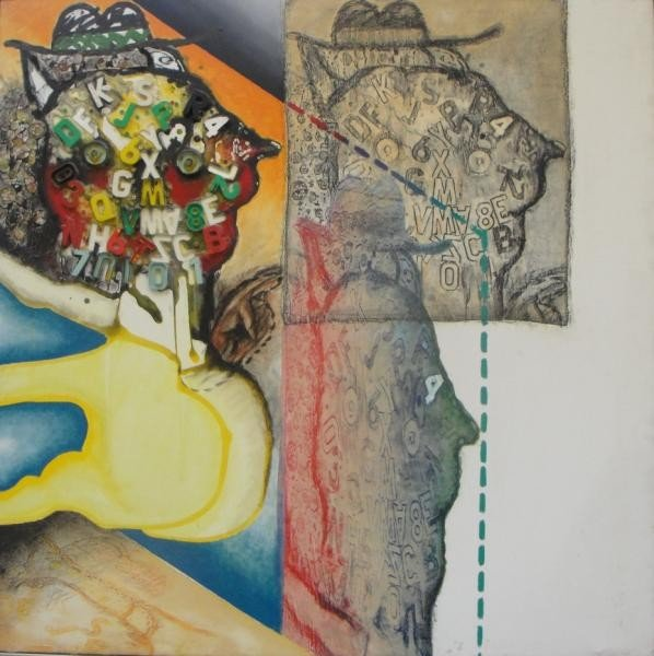 50: DE LA VEGA, Jorge. 1965 M/M Collage on Canvas.