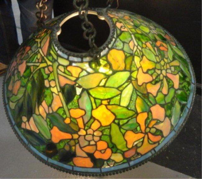 200: TIFFANY STUDIOS Leaded Glass Chandelier.