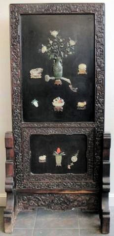 303: Asian Lacquered, Carved, and Jade Mounted Screen.