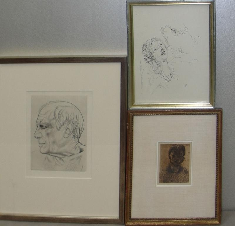 1: 3 Unsigned Prints. CEZANNE, BONNARD and Etching of