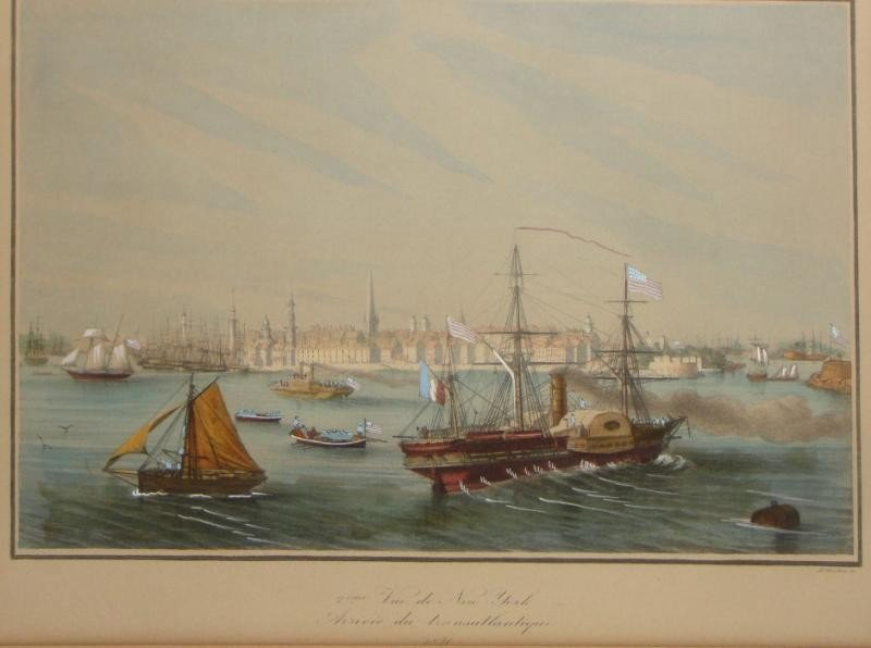 2: LE BRETON. Hand Colored Print of New York Harbor