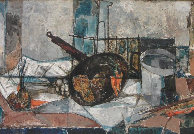 5: ISOLA, Giancarlo. Modernist 1959 O/C Still Life.