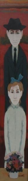 7: BOCCACCI, Marcello. Oil on Board of Man and Girl.