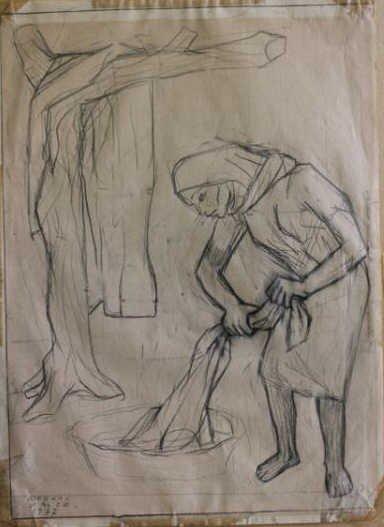 10: ZALCE, Alfredo. Drawing on Paper of Woman Washing