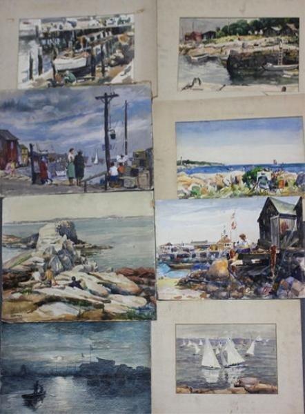 12: NEWMAN, Joseph. 8 W/C's of Rockport Coastal Scenes